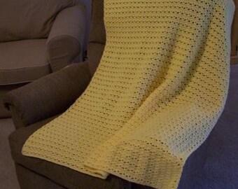 Afghan - Crocheted Afghan or Blanket in Yellow