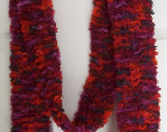 Scarf - Hand Knitted Long Scarf - Mixed Red Colors - Small Width
