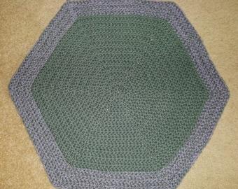 Rug - Crochet Rug - Hexagon - Green/Sage with Border in Gray