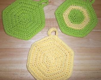 Potholder - Crochet Potholder - Hexagon Potholders - Choose Your Favorite Color