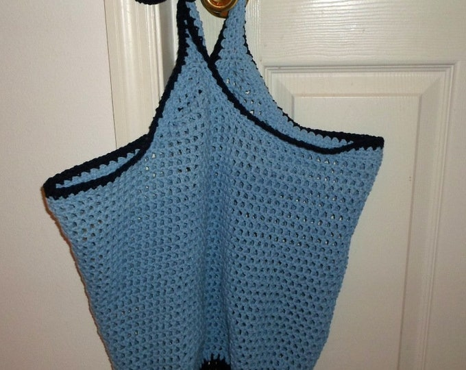 Market Bag / Beach Bag Made of Cotton Yarn in Light Blue and Navy Blue