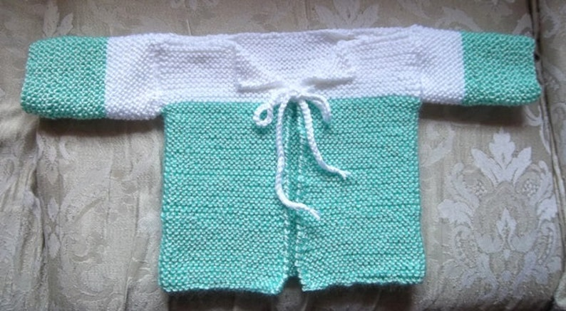 Jacket  Handknitted Baby Jacket in Green and White for 6 image 0