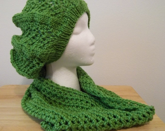Hat Set - Hand Knitted Beret with Crocheted Cowl - Made of Acrylic Yarn in Green