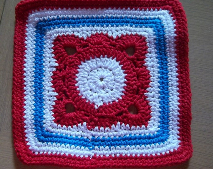 Coaster - Crocheted Coaster - Potholder - Place mat - Great Decoration on Your Table for the 4th of July