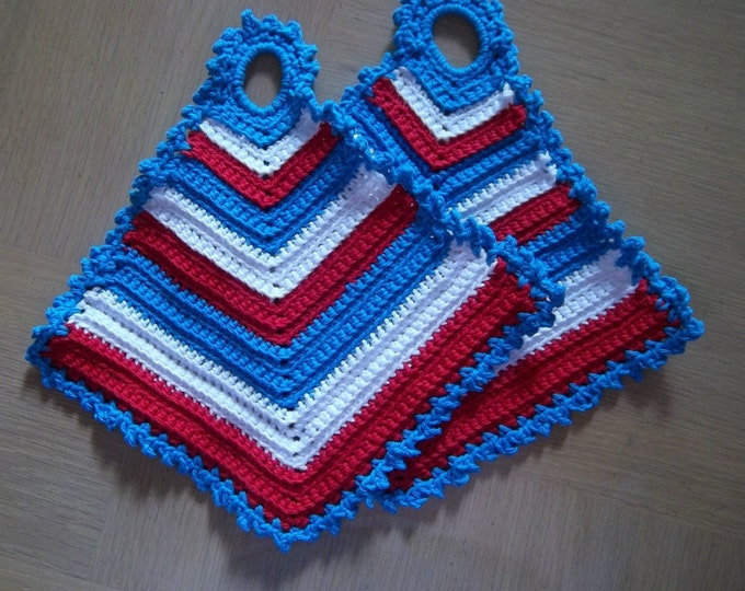 Potholder - Crochet Potholder - Cotton in Red, White and  Blue - Great Decoration for Your Kitchen on the 4th of July
