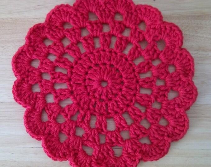 Coaster - Crochet Coaster or Potholder - Large in Red