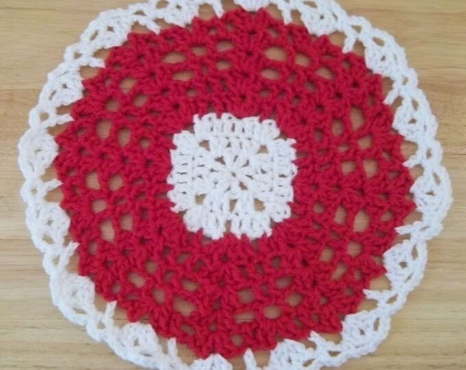 Doily - Crochet Doily or Potholder - Lace Pattern - Red with White Border