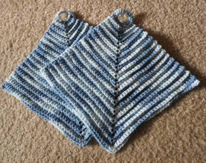 Potholder - Crochet Potholder - Made of Cotton Selfstriping in two different Blue Shades
