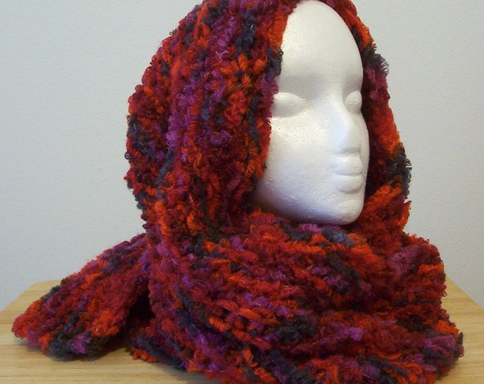 Shawl - Hand Knitted Wrap - Long Shawl - Scarf - in Red Mixed Colors
