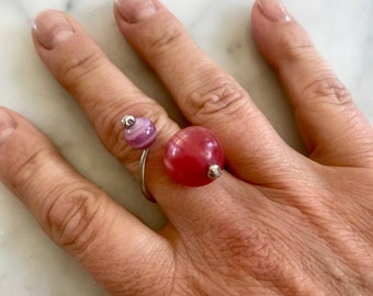 Pink glass beads adjustable ring