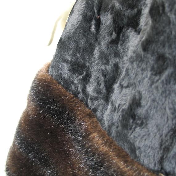 Vintage 1960s 1970s Two Tone Black Brown Faux Fur… - image 5