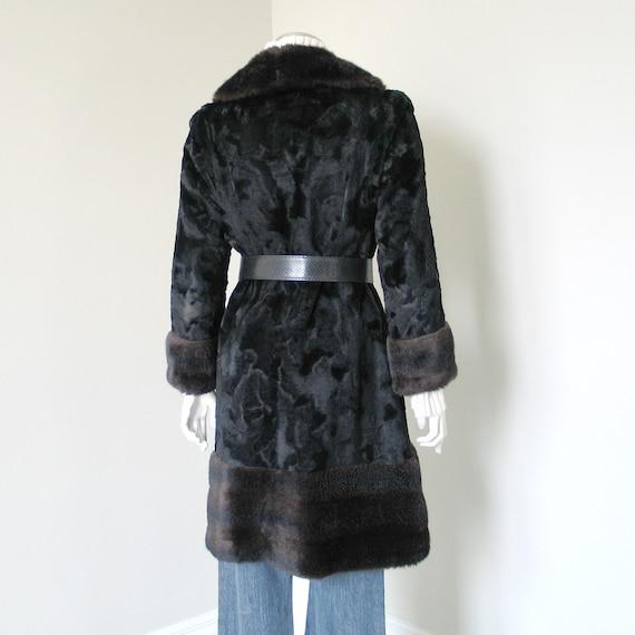 Vintage 1960s 1970s Two Tone Black Brown Faux Fur… - image 3