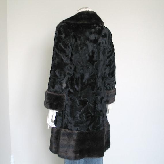 Vintage 1960s 1970s Two Tone Black Brown Faux Fur… - image 4