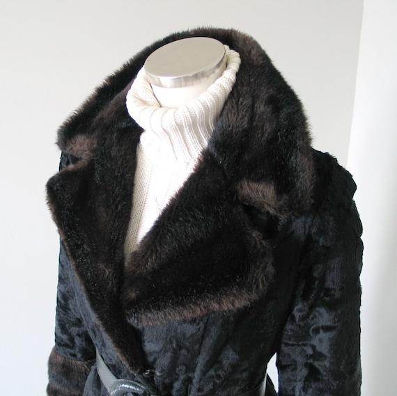Vintage 1960s 1970s Two Tone Black Brown Faux Fur… - image 1