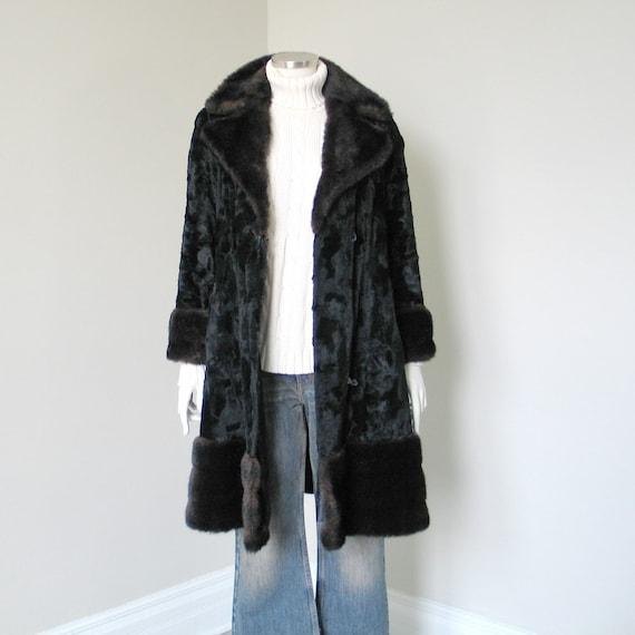 Vintage 1960s 1970s Two Tone Black Brown Faux Fur… - image 6