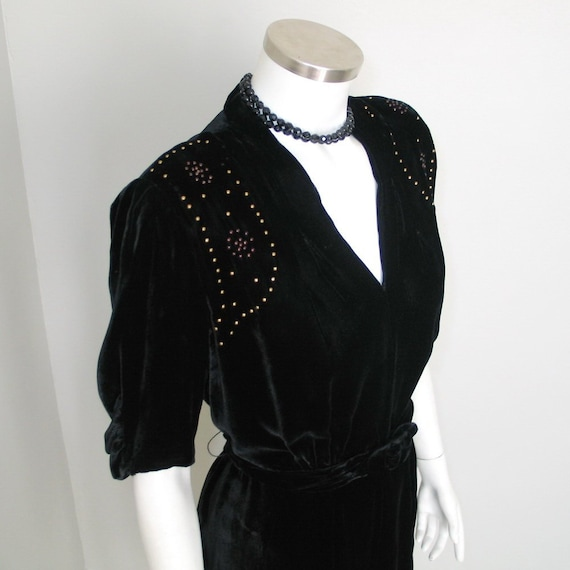 Vintage Late 1930s Black Velvet Cocktail Party Dre