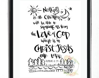 Nothing will be able to separate us form the love of God. Romans 8:39 Wall Art, Boy's Room wall art, Girl's Room Wall art, Nursery Wall art