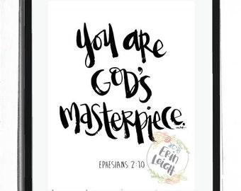 You are God's Masterpiece. Ephesians 2:10. Who I am in Christ wall art. bible verse art. nursery scripture art. nursery scripture print.
