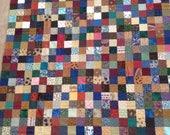 Multi Colored Parchwork Squares Quilt Top