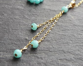 Gold tassel necklace with aqua chalcedony.aqua and gold chain  minimal necklace delicate girlie fashion.