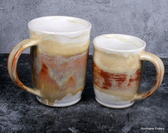 Handcrafted Amber Mugs for Coffee or Tea. Medium and Large Capacity Hand Thrown Ceramic Pottery for Beverages
