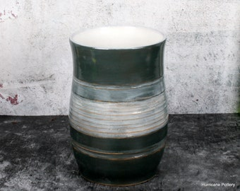 Gray Pottery Kitchen Utensil Holder, Ceramic Kitchen Gadget Utensil Organizer