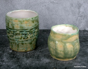 Green Tumbler, Cocktail Glass, Wine Glass, Water Cup, Whiskey Glass, Hand thrown and Carved Pottery