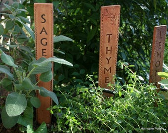 6 Tall Ceramic Herb Garden Markers. Reusable Vegetable Plant Markers. Durable Garden Labels. Made to Order. Urban Naturalist Garden.
