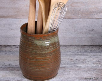 Kitchen Cooking Utensil Holder in Rusty Brown and Olive,  Made to Order