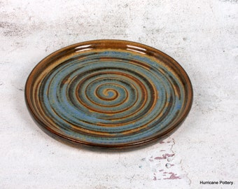 Brown and Teal Blue Spiral Pottery Plate