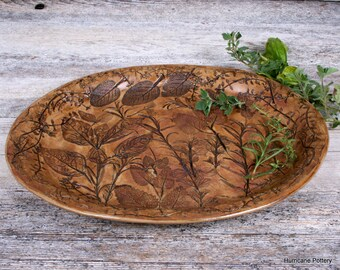Handmade Serving Platter. Herbal Design. Gift for the Herbalist. Herb Impressions. Hors D'Oeuvres Tray. Made to Order.