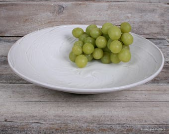 Hand Thrown Ceramic Pottery Dish. Soft Winter White Serving Bowl. Coffee Table Bowl. Home Decor