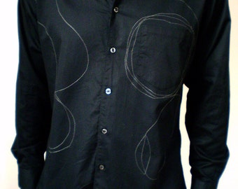 men cotton twill shirt with stitching and applique