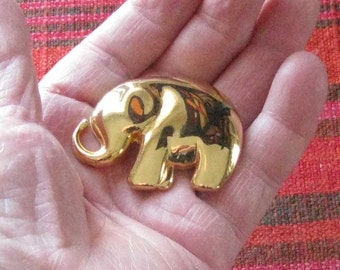 Liz Claiborne gold metal elephant brooch