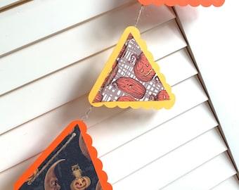 Vintage Pumpkin Garland, Scary Halloween Pumpkin Banner