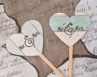 Mr and Mrs Cupcake Toppers - Beach Wedding, Rustic, Wood Grain