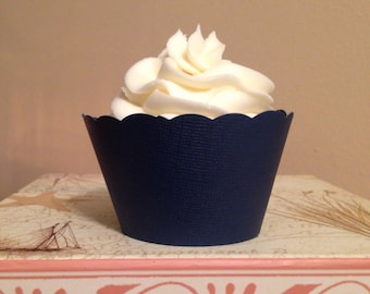 Navy Blue Cupcake Wrappers, Weddings, Showers, Birthdays, Custom Color Mix