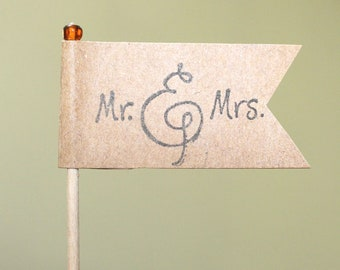 Mr and Mrs Cupcake Topper Weddings Showers Engagements Customized Colors