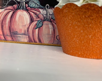 Orange Cupcake Wrappers, Halloween Cupcake Decoration