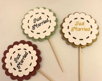 Just Married Cupcake Toppers, Customized Colors