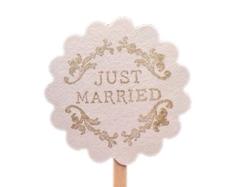 Just Married Wedding Cupcake Topper, Custom Colors