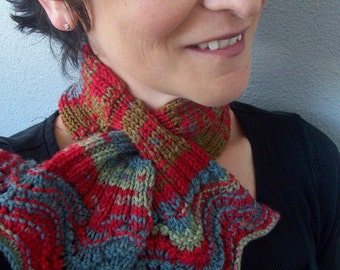 One Skein Scarflette Knitting Pattern pdf in Wortsed Weight Yarn