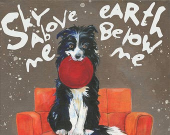 Border Collie Art Print, dog on a chair, mid-century modern chair