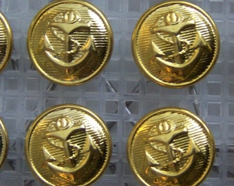 16 yellow gold tone steel - ANCHOR - generic sailor uniform CAP BUTTONS