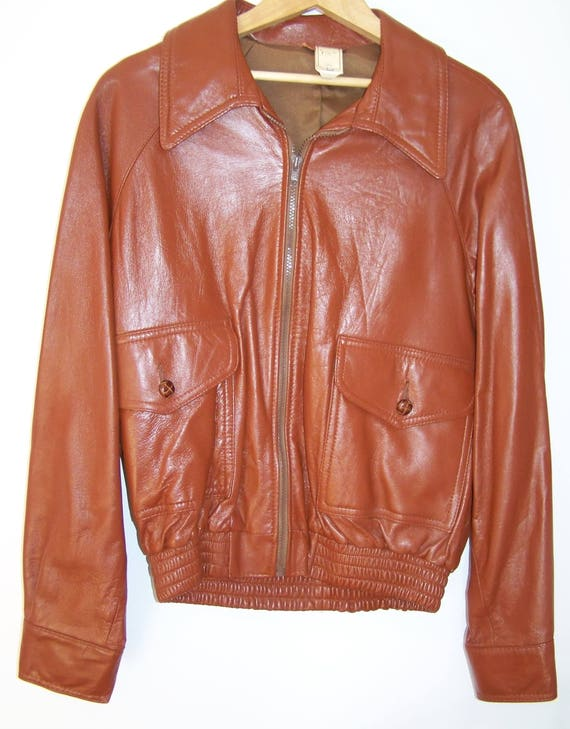 NOS DEADSTOCK 1970s Brown leather jacket Size 44 c