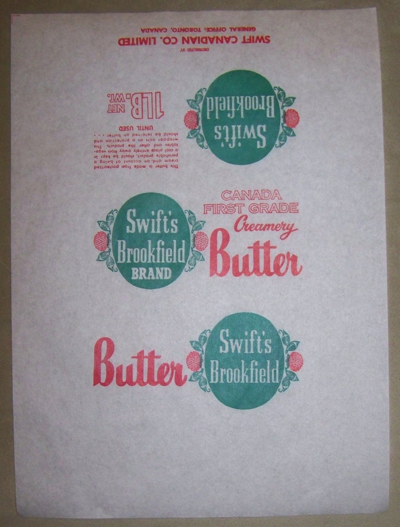 WHOLESALE Bulk lot - 100 SWIFT'S Brookfield Creamery Butter parchments -  wrappers - CANADIAN