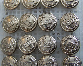 16 silver steel - FD - generic FIRE DEPARTMENT uniform cap/hat buttons