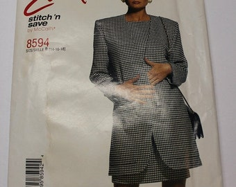 CLOSING 75% OFF SALE McCalls Easy Stitch and Save - diy power suit pattern - 8594 - make your own power suit, blazer / jacket and dress Plus