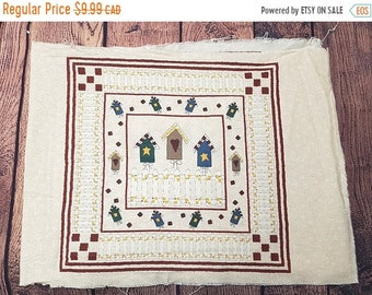 "CLOSING 75% OFF SALE Bird Houses panel - quilt panels - cotton - 17 x 45"" inches washed"