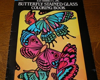Butterfly Stained Glass Coloring Book Ed Sibbett Jr 1985